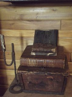 Leather Bibles on early document box & rush light