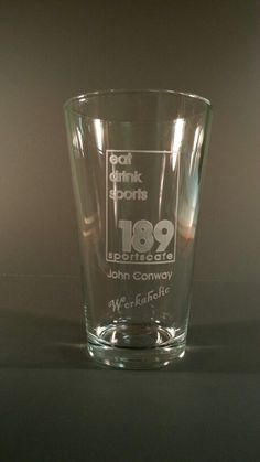 Customer Logo engraved pint glass, everything we engrave is done by hand one at a time in the USA Engraved Beer Mugs, Pint Glass, Logo, Usa, Drinks, Tableware, Drinking, Logos, Beverages