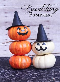These Bewitching Pumpkins are sure to cast a spell on you!  Whip them up in 5 minutes!  via createcraftlove.com #pumpkins #halloween