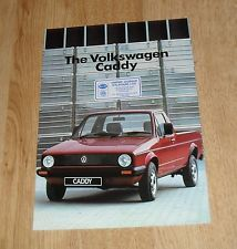 Volkswagen VW Caddy Pick Up Brochure 1985