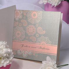 klassische Hochzeitskarten mit pink Schneeflocke KP237