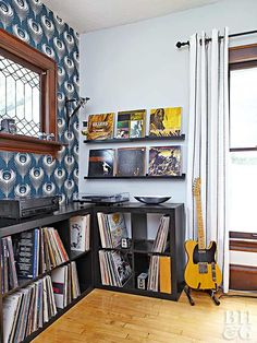 Cubes for record storage. And records for wall art.