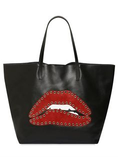 RED VALENTINO - STUDDED SUEDE LIPS LEATHER TOTE - BLACK/RED