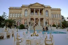 Classy Place to Have a Wedding with Mesmerizing Bosphorus View Dolmabahce Palace Istanbul Turkey Outdoor Wedding Reception, Tent Wedding, Destination Wedding, Wedding Venues, Dream Wedding, Wedding Dreams, Turkey Destinations, Wedding Places, Woodland Wedding