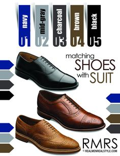 shoes and suit chart. Black would be the most formal.