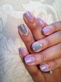 Nail of the week-Gel polish manicure with B design.