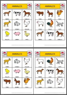 bingo d'animals per imprimair Farm Lessons, Spanish Lessons For Kids, Spanish Lesson Plans, Spanish Activities, Spanish Classroom, Teaching Spanish, Teaching English, Teaching Kids, Teaching Resources