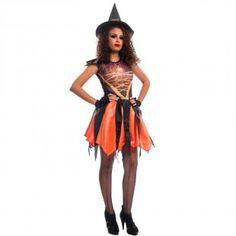 81fd7c41ee Fantasia Bruxa Angeline Laranja Com Chapéu e Luvas Halloween Adulto - Fantasias  carol fsp