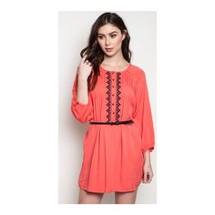 """HPCoral dress  Coral dress Length- S: 36"""" • M/L: 37"""" Materials- 65% cotton/ 35% polyester. This dress has no stretch to it. The front has a button closure. Belt included!  NWT. Brand new with tags. Availability- S•M•L • 2•2•2     PLEASE do not purchase this listing. Price is firm unless bundled. No tradesHP by whatsleftCLEARANCE PRICE!! WAS $40!!!! Boutique Dresses Long Sleeve"""