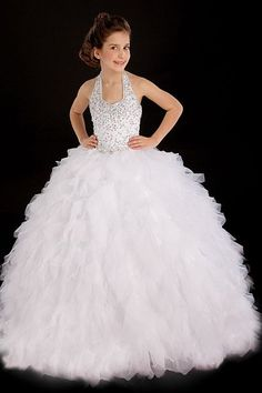 Cheap White First Communion Dress Halter Beaded Bodice Ruffle Organza Girls Pageant Dress Flower Girl Dress Kids Pageant Dresses, Pagent Dresses, Pageant Gowns, Girls Dresses, Flower Girl Dresses, Flower Girls, Dress Girl, Beach Dresses, Wish Vestidos