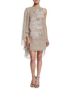 Asymmetric Flowy-Sleeve Printed Dress by Halston Heritage at Bergdorf Goodman.