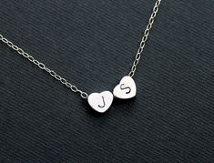 Personalized Heart Necklace, Initial Necklace, Two Heart Necklace, Couples Jewelry, Monogram Heart, Girl Friend, Wife Bridesmaid Jewelry. $24.50, via Etsy.