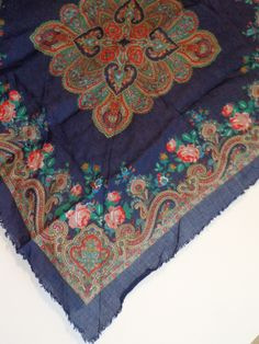 Vintage Blue Classic Floral Flowers Print Scarf Fashion Accessory, Headscarf, Wrap, Romantic Retro Style by PopWildlife on Etsy