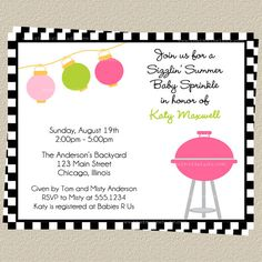 Baby Q Shower Invitations BBQ Baby Sprinkle Co Ed Couples Shower Green Mint Pink Blue Boy Girl Picnic Gingham 10 Printed Invites