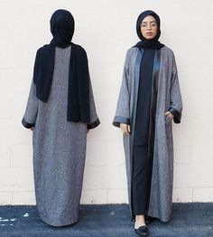 Grey and black abaya. Great for when you're feeling sophisticated and in need of comfort ♥ #Hijab Fashion