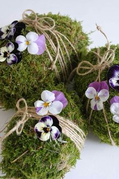 Living green eco decorative floral eggs for Easter or mother's day colour that shouts spring Amor-perfeito