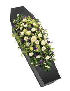 Purple and White Casket Spray. A gorgeous white casket spray interspersed with purple Lisianthus blooms. Flowers For Mom, Amazing Flowers, Love Flowers, Purple Flowers, Casket Flowers, Funeral Flowers, Funeral Floral Arrangements, Flower Arrangements, Freesia Flowers