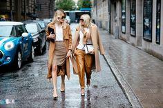 Twinning in camel and tan at Stockholm Fashion Week Spring 2015.