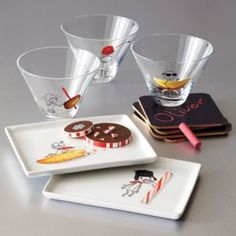 """""""Oliver"""" funny appetizer plates and glasses from CB2 (Crate and Barrel's modern brand)."""