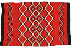 """Antique Navajo Chief Rug, 6'9"""" x 4'4"""" - a rare Germantown chief's example in an unusual design called the """"bird eye.""""  10095 - orig. 25999"""
