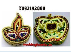 "Meenakari kumkum boxes/ sindoor boxes Size:3.5"".Code: WH K 002 diya shape.Code: WH K 003 Apple shape.Best for return gifts.Bulk orders only Moq 25) PRICE 100rs each."