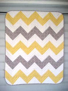 Grey yellow and white chevron quilt...ideas for Terry