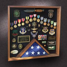 Greg Seitz Woodworking offers Custom Wood Shadow Boxes, Wood Flag Boxes, Military Shadow Boxes, and More. Call Greg For a Custom Shadow Box Today! Custom Shadow Box, Wood Shadow Box, Shadow Box Frames, Army Retirement, Retirement Gifts, Retirement Celebration, Retirement Ideas, Coin Display, Display Case