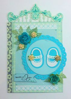 Card made by DT member Nadège with Creatables Anja's Border (LR0300) and My First Shoes (LR0303) from Marianne Design