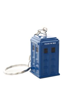 Blue die-cast metal TARDIS with chain and key ring.