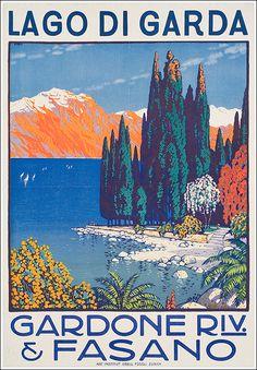1912 Lake of Garda, Gardone-Fasano, Italy vintage travel poster Retro Poster, Poster Vintage, Vintage Travel Posters, Travel Ads, Travel Images, Vintage Advertisements, Vintage Ads, Vintage Italian Posters, Italy Tourism
