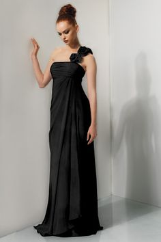 Bari Jay 641 - Chiffon. One shoulder flower detail, shirred bust. Additional strap that can be tucked in or worn at anytime.
