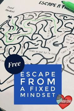 from a Fixed Mindset Maze This is a free growth mindset activity. Print and ready to go. This is a free growth mindset activity. Print and ready to go. Elementary School Counseling, School Social Work, School Counselor, Elementary Schools, Primary Education, High School, Special Education, Growth Mindset Lessons, Growth Mindset Activities