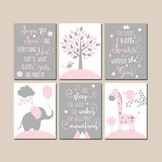 This PINK GRAY Quote Nursery Decor Girl Animal Nursery Wall Art is just one of the custom, handmade pieces you'll find in our wall hangings shops. Baby Elephant Nursery, Girl Nursery, Girl Room, Baby Room, Animal Nursery, Elephant Canvas, Koala Nursery, Baby Canvas, Canvas Art