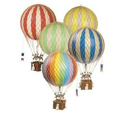 Mix and match hot air balloons of different sizes and colors and then hang from the ceiling for a dramatic effect! Get free shipping this from Belle & June with coupon code here: www.couponfinder.com/s/891594/Belle-and-June-coupons?xtrnl=pinterest