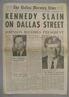 November 22, 1963: President John F. Kennedy is assassinated in Dallas, Texas.