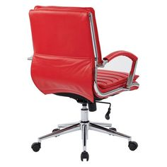 Mid Back Manager's Faux Leather Chair With Chrome Base Red - Osp Home Furnishings : Target Coffee Table With Storage, Cleaning Wipes, Upholstery, Chrome, Base, Chair, Red, Leather, Target