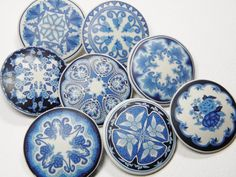 """Dede Leupold - A series of buttons titled """"Ode To Spode"""" inspired by my blue and white dish collection! Made from polymer clay using millefiori techniques."""