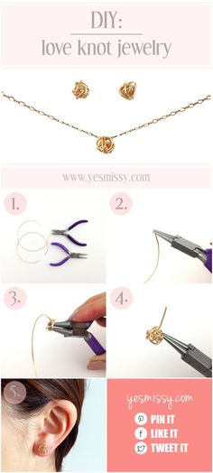 DIY Love Knot Earrings and Pendant - Yes Missy!  I am of course thinking of ways to modify, embellish, or enlarge these.