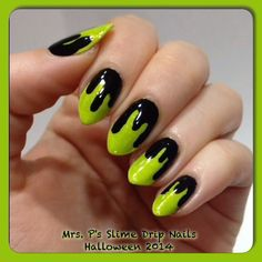 Halloween 2014 nail art  Green is You Gloworm Girl in 1 coat over white undies. Available at www.mrspspotions.com
