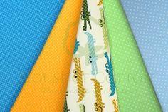 Crocodiles cotton fabric set with polka dots / Bawełna w krokodylki