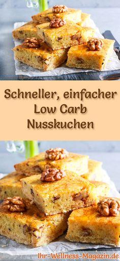 Rezept für Low Carb Nusskuchen: Der kohlenhydratarme, kalorienreduzierte Kuchen wird ohne Zucker und Getreidemehl zubereitet ...