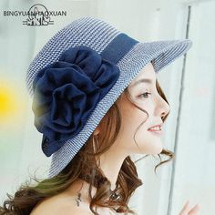 Large flower straw sun hats for ladies UV summer sun protection hats 55e9fa31cbb8