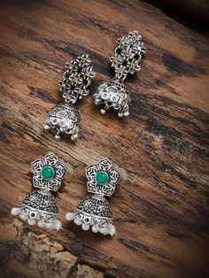 Zaveri Pearls Combo Of 2 Antique Silver Tone Jhumka Earring – Jumkey Fashion Jewellery