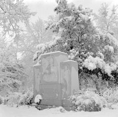 Sam Houston's Grave in Oakwood Cemetery covered in snow in 1958. This item is a part of the Springfield Collection found in University Archives. It can be also found with the rest of the collection at http://walkercountytreasures.com/index.php