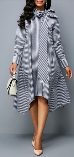 Bowknot Neck Asymmetric Hem Stripe Print Dress, Bowknot Neck Uneven Hem Stripe Print Gown Bowknot Neck Uneven Hem Stripe Print They're excellent for day in addition to evenings and weekends. Women's Fashion Dresses, Sexy Dresses, Casual Dresses, Tunic Dresses, Trendy Dresses, Midi Dress With Sleeves, Chiffon Dress, Mode Blog, Patchwork Dress