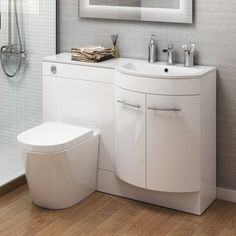 Our white gloss bathroom storage units are ideal for family bathrooms and add a touch of style to a practical space. The toilet and sink set add a modern feel and the unit features ample storage space. Toilet And Sink Set, Bathroom Storage Over Toilet, Bathroom Sink Units, Bathroom Storage Units, Storage Tubs, Diy Bathroom, Small Toilet, White Vanity Bathroom, Bathroom Toilets