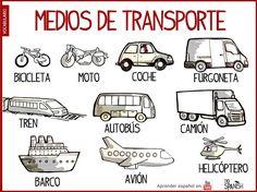 Los medios de transporte en español, vocabulario español