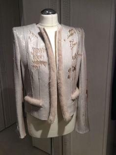 Thomas Rath Couture Pailletten Jacke Mit Nerz Nude/Gold Gr.38 Neu | eBay