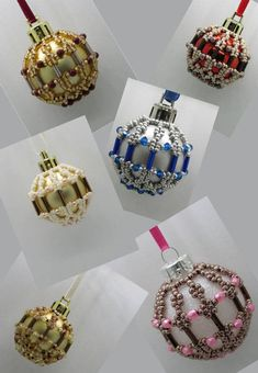 Beaded Ornament Covers, Beaded Ornaments, Unique Christmas Ornaments, Seed Beads, Helpful Hints, Bracelet Watch, Crystals, Mini, Pattern