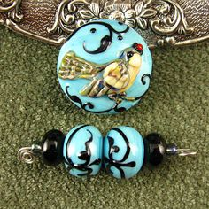 Lampwork Turquoise Blue Bird Bead Mini Set by kerribeads on Etsy, $69.00
